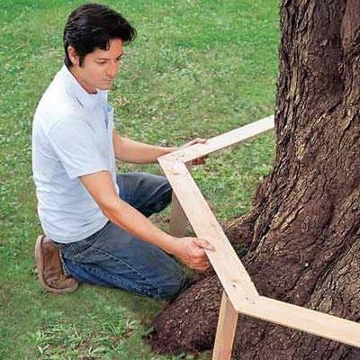 Как сделать скамью вокруг дерева