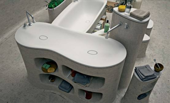 Бетонная ванная комната