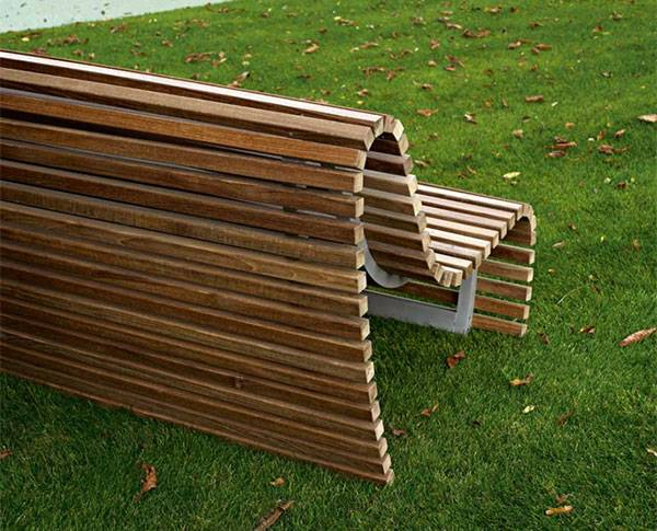 Современная скамейка из дерева от B&B Italia