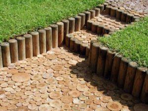 Мощение деревянными спилами, технологии мощения