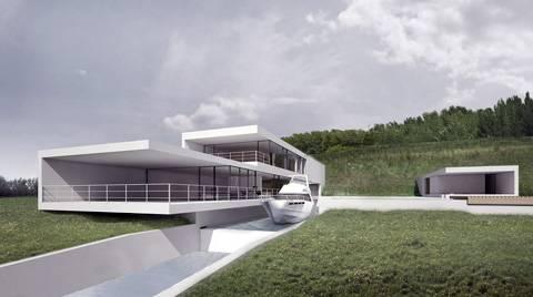 Современные дома Дом с яхтой