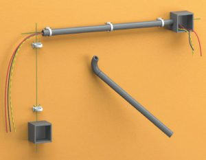 Укладка проводки в гофрированную, в ПВХ трубу