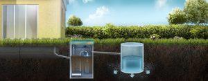 Схема отвода очищенной воды в дренажный колодец