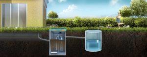 Схема отвода очищенной воды в накопительный резервуар для повторного использования