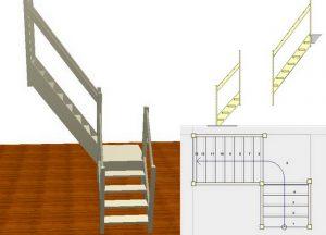 Лестница Г- образной формы с промежуточной площадкой