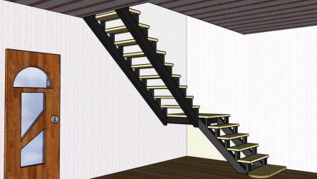 Лестница Г- образной формы с промежуточной площадкой. Вид сбоку.