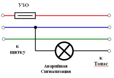 Схема подключения аварийной сигнализации