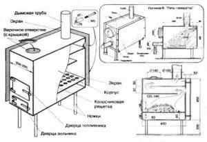 Буржуйка для отопления маленького помещения и как ее сделать своими руками