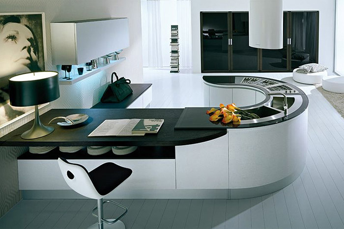 Современная кухня-гостиная в стиле минимализма