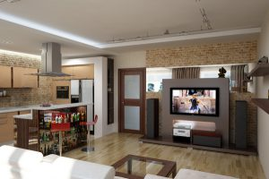Совмещенная с гостиной кухня: идеи дизайна