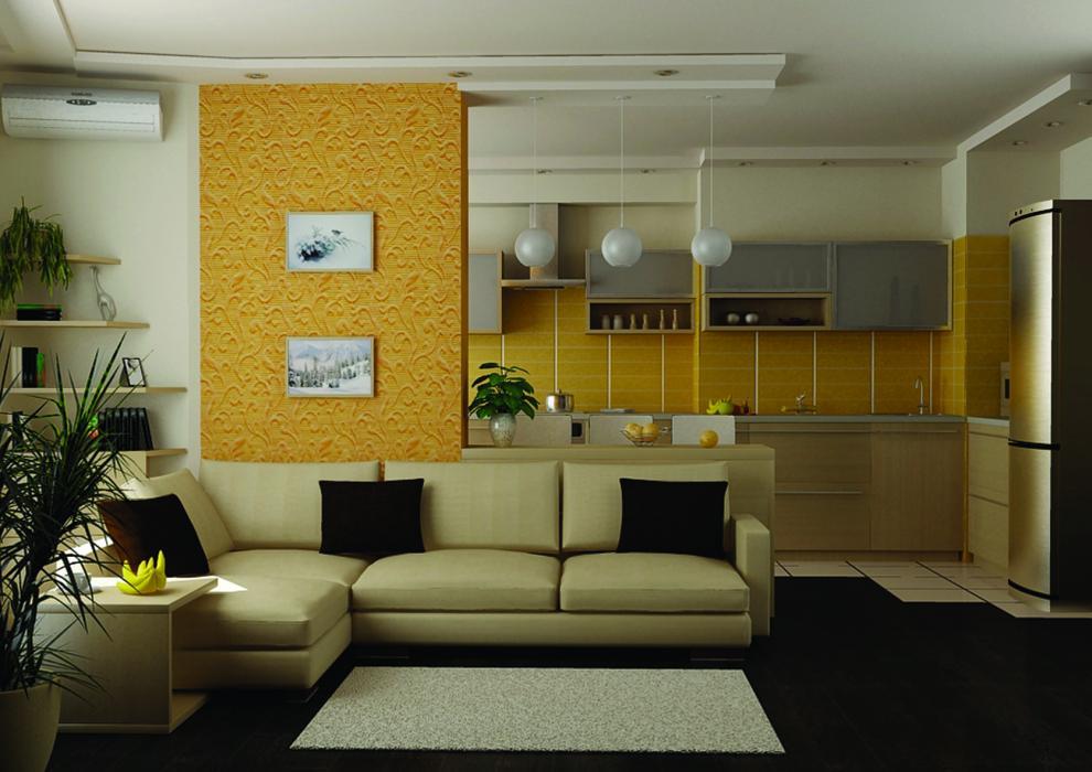 Цветовое сочетание мебели в гостиной-кухне