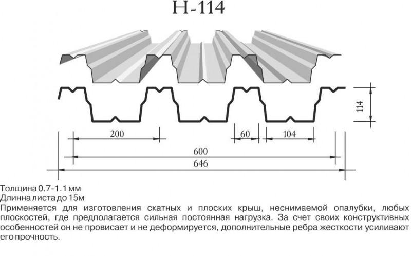 Профнастил Н-114 фото