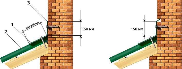 Крепление углового ската к стене. фото