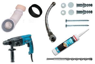 Инструменты и материалы для монтажа унитаза фото
