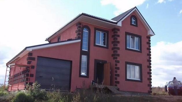 фасад каркасного дома имитация бруса