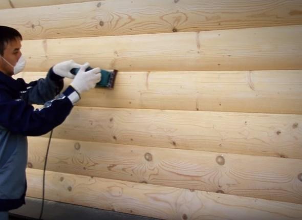 Шлифовка деревянных стен дома