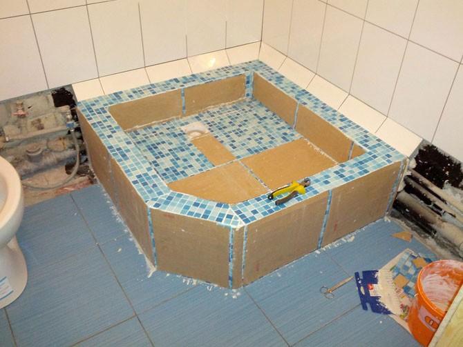 Укладка мозайки в поддон