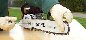 Как установить пильную цепь и шину