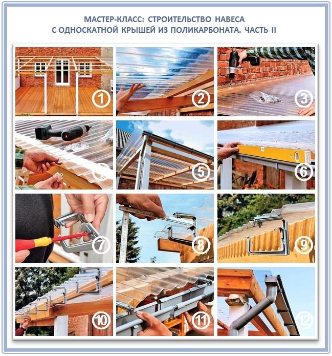 Строительство навеса с крышей из прозрачного шифера