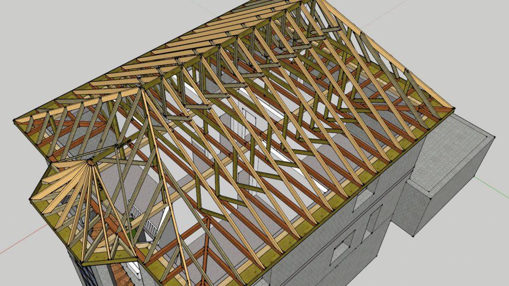 Конек крыши и сращивание стропил крыш разной конфигурации