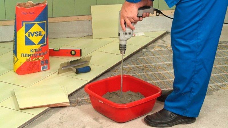 Сухой клей для плитки: замешивание
