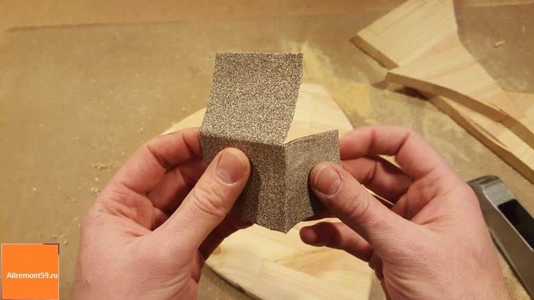 как правльно согнуть наждачную бумагу