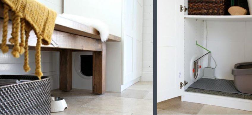 Туалет для кошки в нижней части шкафа