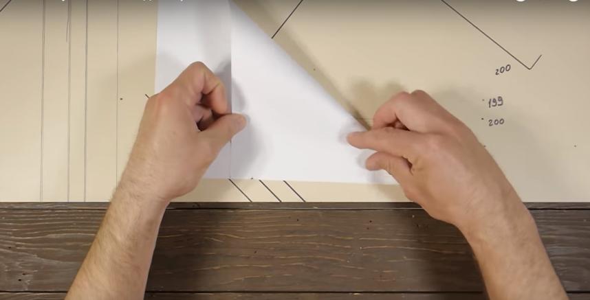 Разметка угла 45° с помощью стандартного листа бумаги