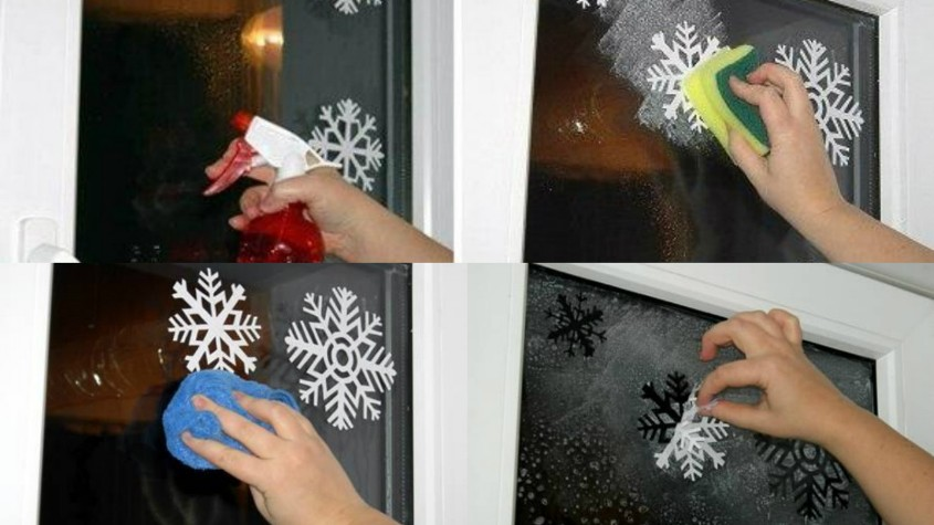 Силуэты снежинок на стекле