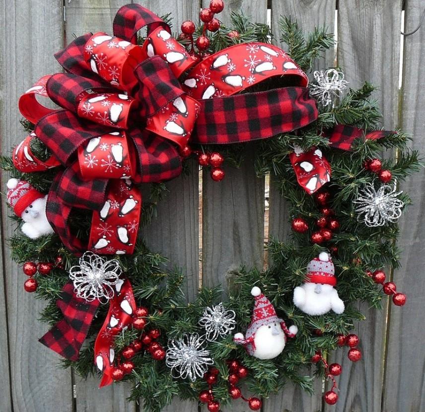 Изготовлениие новогоднего венка на входную дверь