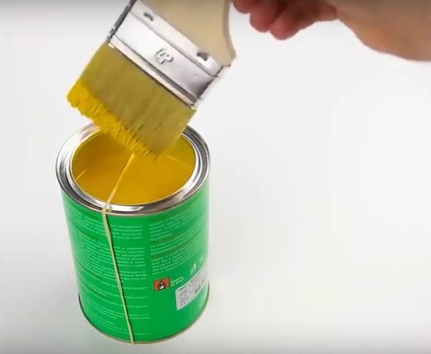 Резинка на банке с краской