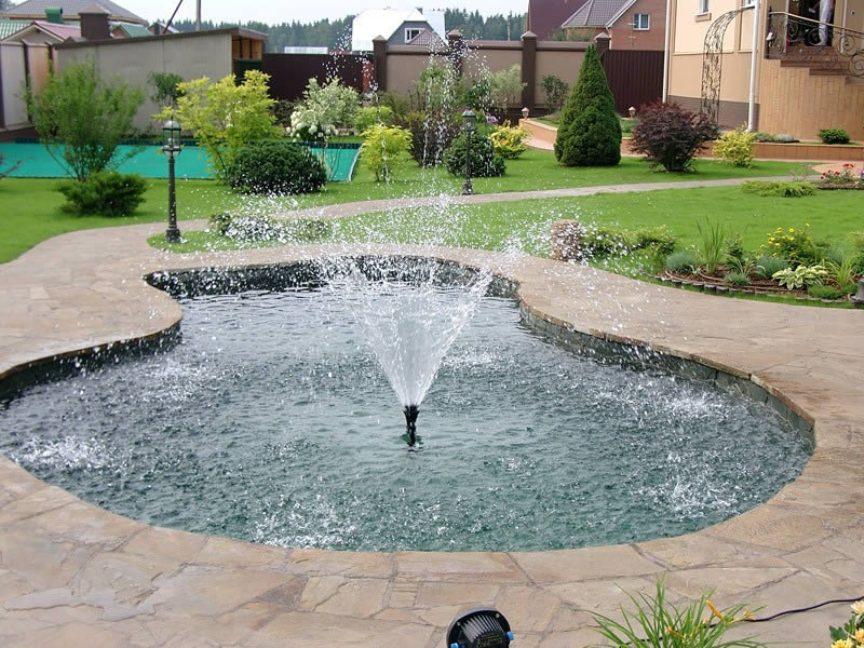 Зависимость размера фонтана от площади участка