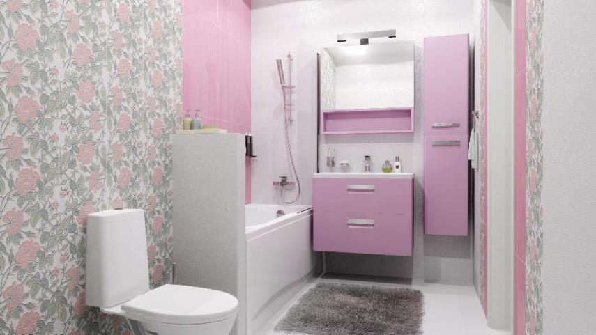 Сочетание обоев и плитки в ванной