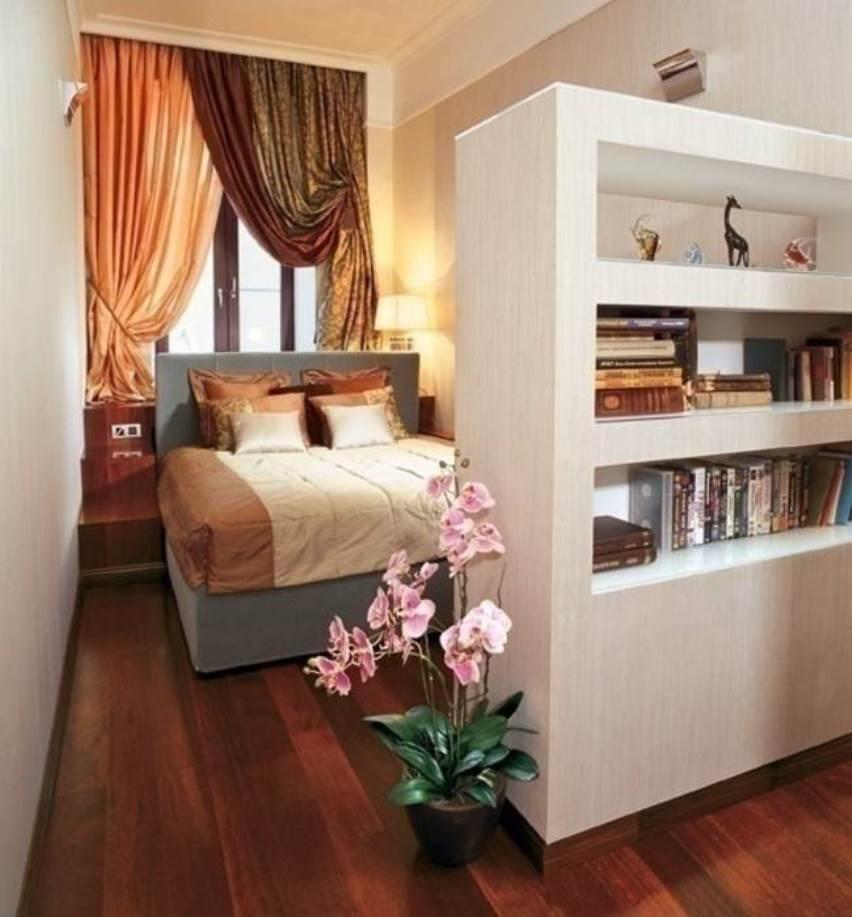Узкая спальная: разделение комнаты