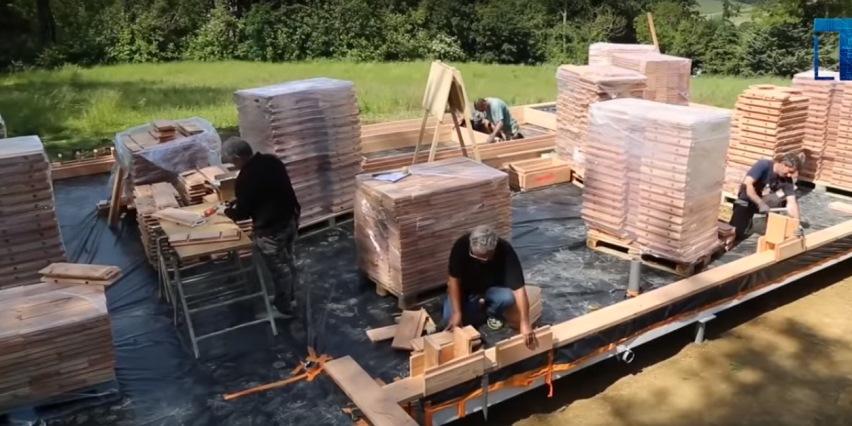 Элементы деревянного кирпича