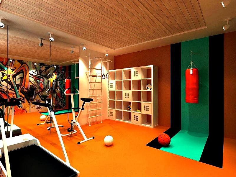 Детская спортивная комната в подвале