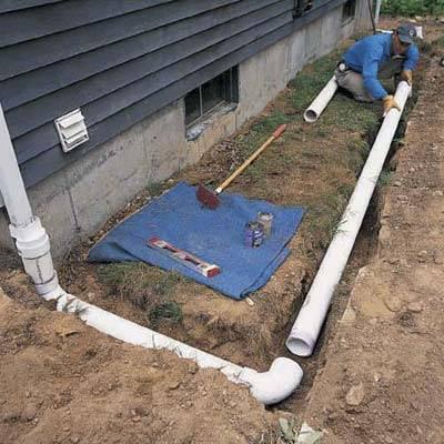 Как сделать отвод воды от дома