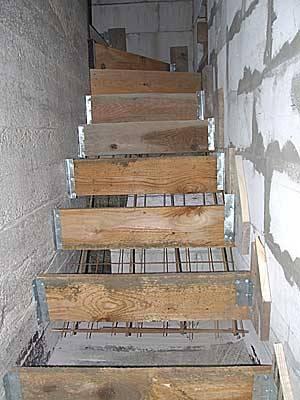 Строительство бетонной лестницы в подвал